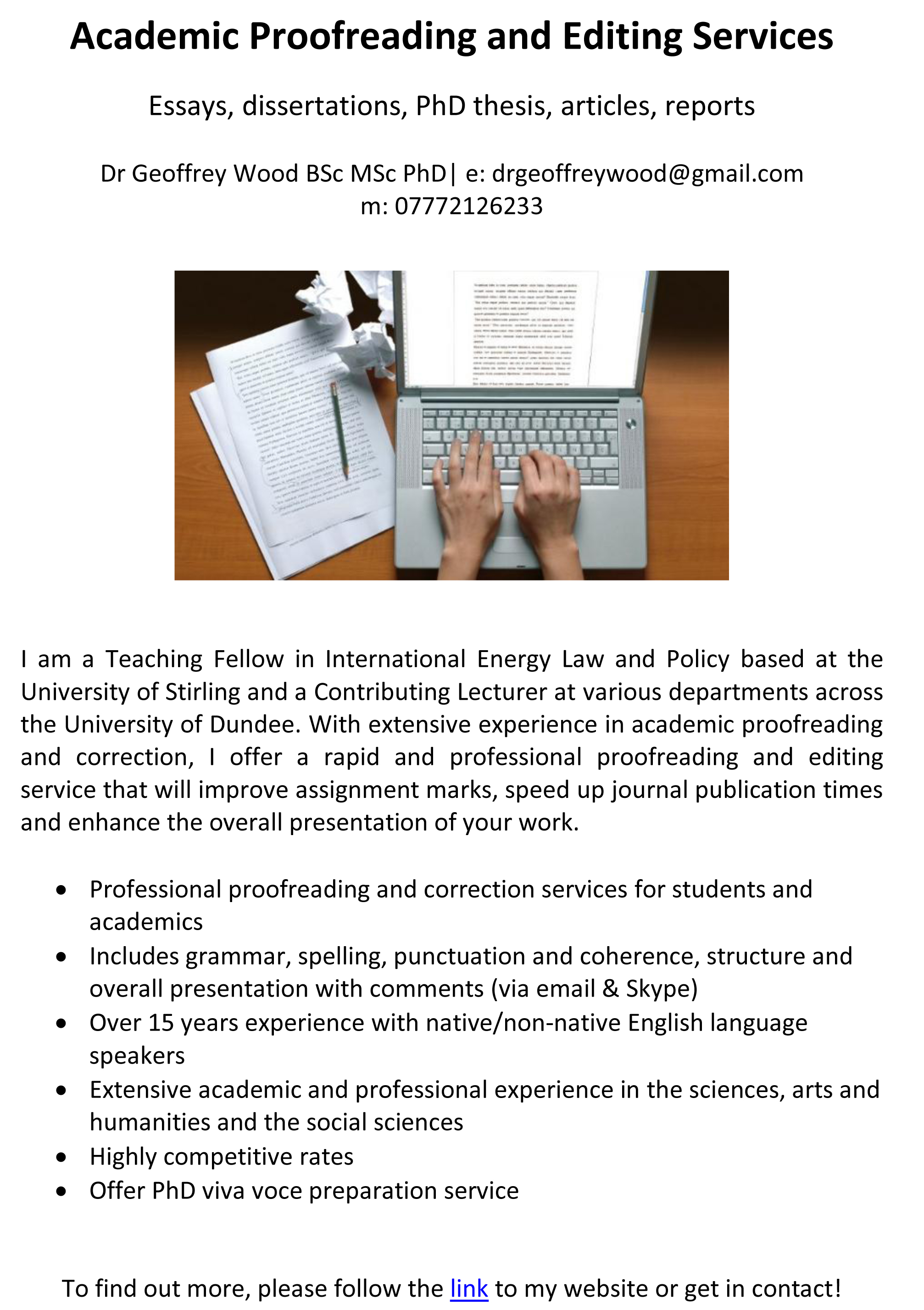 Subject-focused academic proofreading and editing services